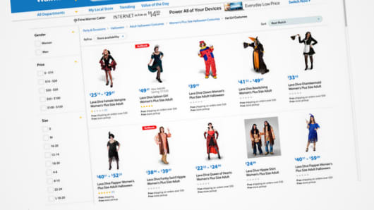 Wal-Mart Fat Girl Costumes web page