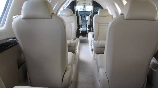 Cessna Citation CJ4 cabin interior.