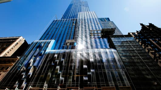 One57, a new luxury skyscraper apartment building on New York City's West 57th street.