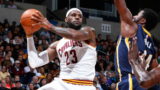 LeBron James #23 of the Cleveland Cavaliers during a game against the Indiana Pacers at Cintas Center on October 15, 2014 in Cincinnati, Ohio.