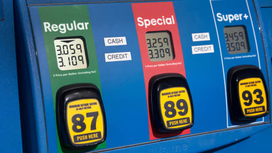 Gas prices at a station in Sarasota, Fla.