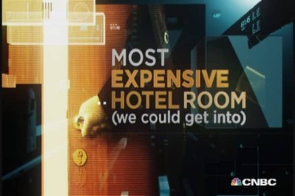 Most expensive hotel room (we could get into): NYC
