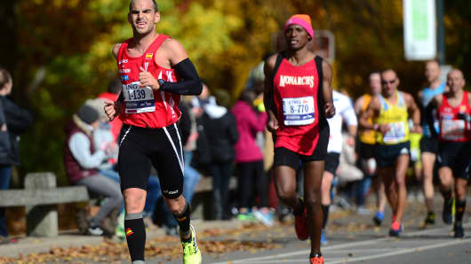 Runners participating in the 2013 ING New York City Marathon on November 3, 2013.