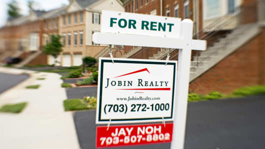 File photo: A house for rent sign in Centreville, Virginia.