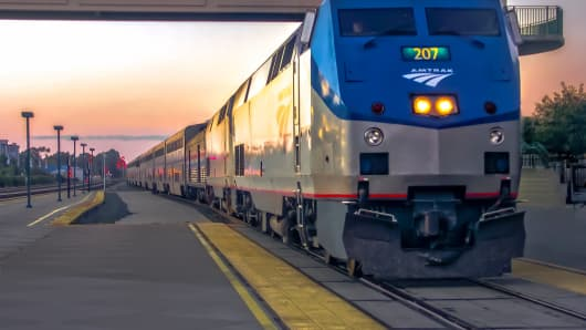 Amtrak train pulls into the train station at Emeryville, California.