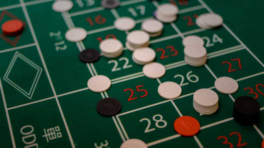 A roulette table is seen at the glitzy Venetian hotel in Macau.