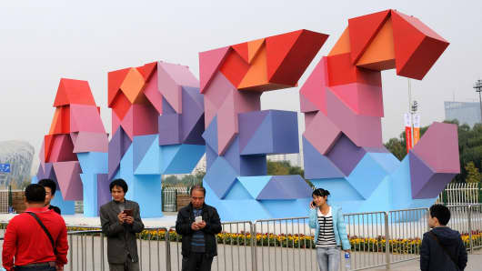 A general view of the APEC logo at Olympic Park in Beijing, China.
