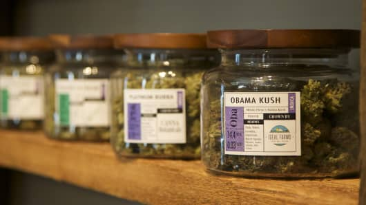 "Marijuana-based products are displayed at the ""Oregon's Finest"" medical marijuana dispensary in Portland, Oregon."