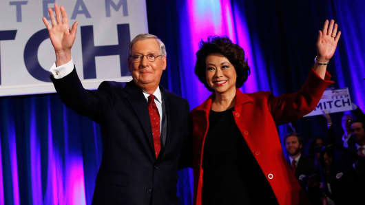 U.S. Senator Mitch McConnell (R-Ky.) during his election night victory rally with his wife, former United States Secretary of Labor Elaine Chao.