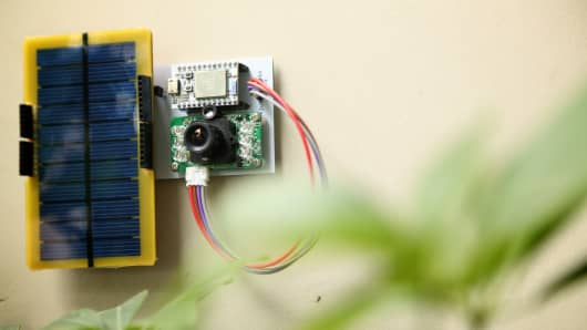 A solar-powered camera using Spark