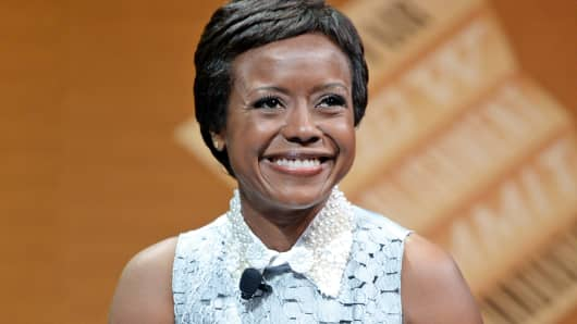 "DreamWorks Animation Chairman and moderator Mellody Hobson speaks during ""Who Owns Your Screen?"" at the Vanity Fair New Establishment Summit, Oct. 9, 2014, in San Francisco."