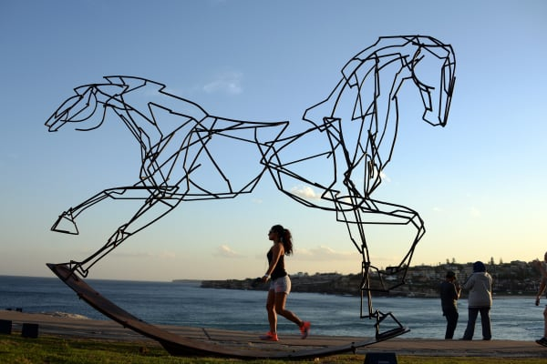 A woman walks next to a sculpture by artist Harrie Fasher titled 'Which way forward?' overlooking Sydney's coastline on October 27, 2014.