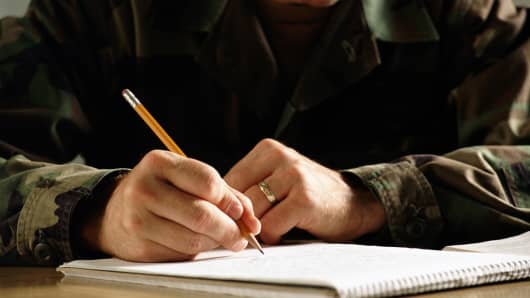 Military man writing