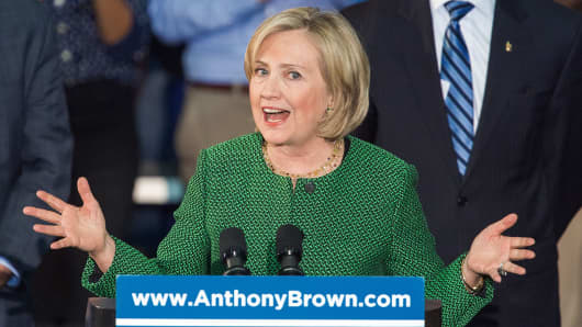 Former Secretary of State Hillary Clinton delivers remarks on behalf of Maryland gubernatorial candidate Anthony Gregory Brown during a campaign rally in College Park, Md., Oct. 30, 2014.