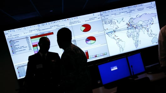 Cyberattacks are monitored at the U.S. Computer Emergency Readiness Team/National Cybersecurity and Communications Integration Center facility in Arlington, Virginia.