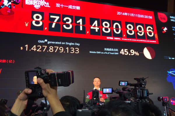 Alibaba Group monitors internet sales on China's biggest e-commerce day of the year.