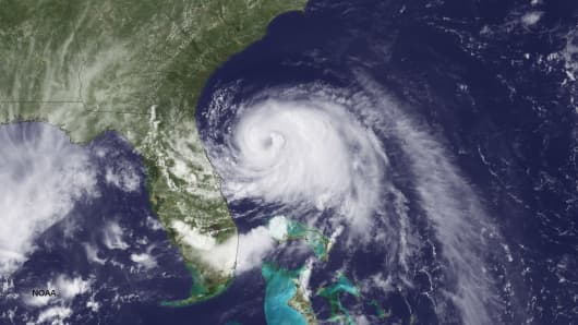 In this handout provided by the National Oceanic and Atmospheric Administration, taken from the GOES-East satellite, Tropical Storm Arthur travels up the east coast of the United States on July 2, 2014.