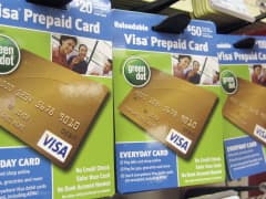 Visa prepaid cards are shown at a Duane Reade drug store in New York.