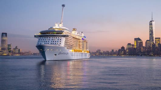 The Quantum of the Seas sails into New York Harbor.