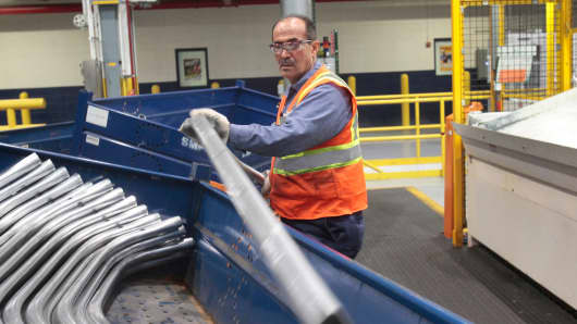 A worker at the Ford Rouge Center in Dearborn, Michigan.