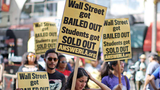Students protest the rising costs of student loans in Los Angeles.