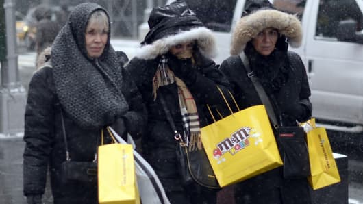 Shoppers during a winter storm in New York