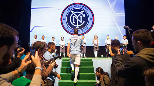 Spanish soccer star David Villa takes part in a celebration of Major League Soccer's new team, the New York City Football Club, Nov. 13, 2014, in New York.