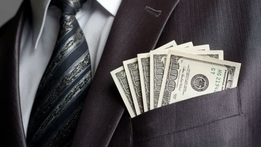 Cash in breast pocket of suit