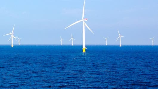 Denmark's Anholt wind power farm. The United States trails Europe in developing the energy source.