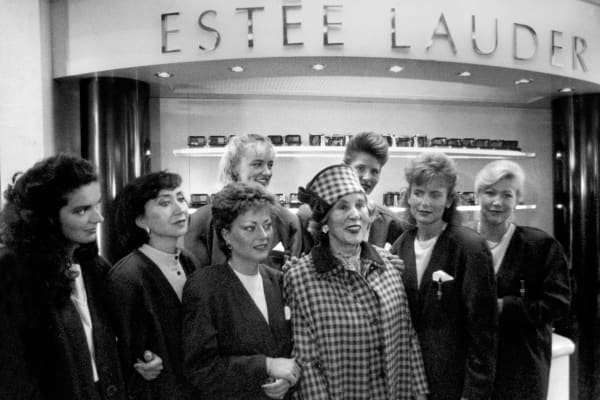 Beauty products pioneer Estee Lauder during the opening of a shop in Hungary, October 1989