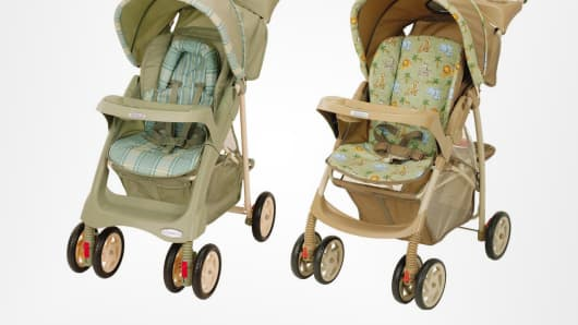 Two of the recalled models of Graco strollers