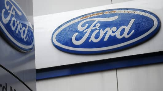 Ford emblems are shown in front of a Ford showroom in Manila, Philippines, in this June 27, 2012 photo.