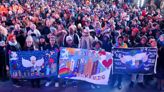 Vigil in Times Square before the Covenant House's Sleep Out to benefit homeless youth in November 2014.