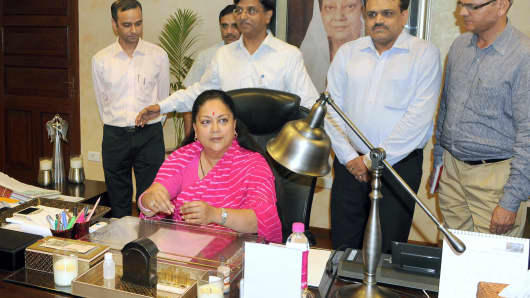 Rajasthan Chief Minister Vasundhara Raje gives final touches to the State Budget 2014-15 in July.