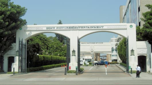 File photo: A gate to the Sony Pictures Entertainment studio complex.