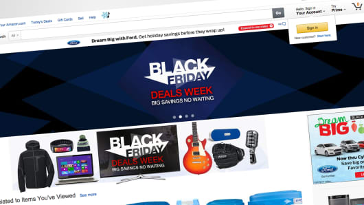 A screen showing Black Friday deals on Amazon.com