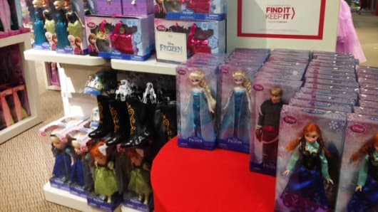 Disney's Frozen dolls were the hot holiday item, especially at J.C. Penney's Disney shop in shop.