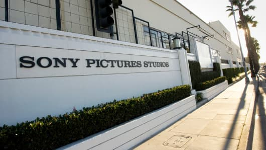 Signage outside the Sony Pictures Entertainment Studios building in Culver City, Calif.