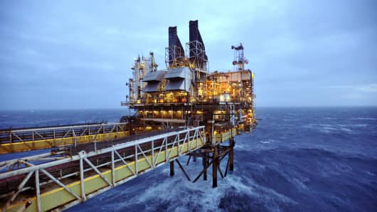 An oil platform is seen in the North Sea, around 100 miles east of Aberdeen, Scotland.