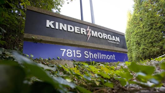 The entrance for the Kinder Morgan Tank Farm in British Columbia, Canada.