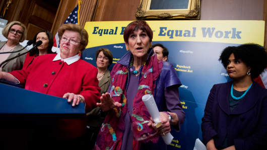 Rep. Rosa DeLauro, D-Conn., and Sen. Barbara Mikulski, D-Md., left, urged the Senate to pass the Paycheck Fairness Act earlier this fall to help close the gender wage gap. It failed to gain enough votes.