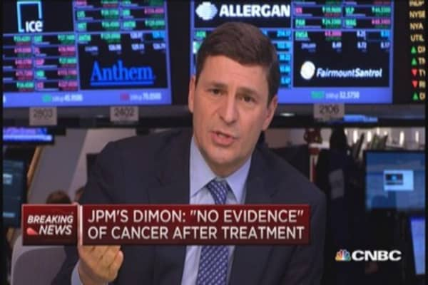 JPM's Dimon: 'Completely clear' of cancer