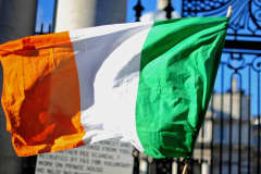 The Irish national flag is shown outside the Irish prime minister's department building in Dublin.