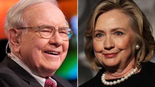 Warren Buffett (L) and Hillary Clinton (R). Warren Buffett donated money to a PAC that supports Hillary Clinton.