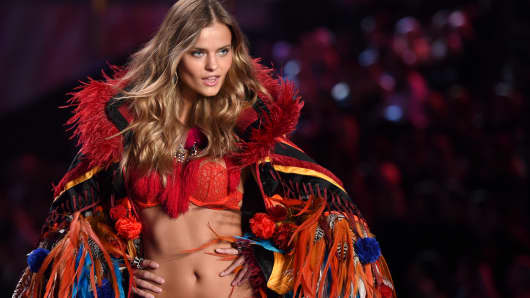Kate Grigorieva walks the runway at the annual Victoria's Secret Fashion Show at Earls Court on Dec. 2, 2014, in London.