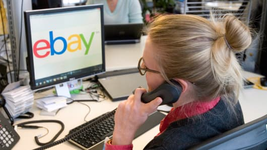 An employee at ebay in Berlin, Germany.