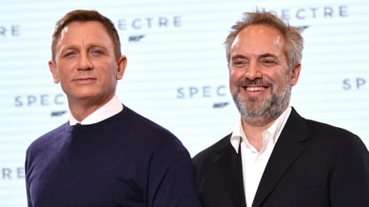 Daniel Craig and Sam Mendes attend the event to announce the start of the production of the James Bond Film 'Spectre' at Pinewood Studios on December 4, 2014 in Iver Heath, England.