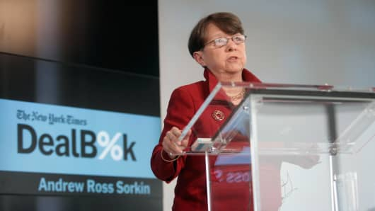 Chair of the Securities and Exchange Commission Mary Jo White speaks onstage during The New York Times DealBook Conference at One World Trade Center on December 11, 2014 in New York City.