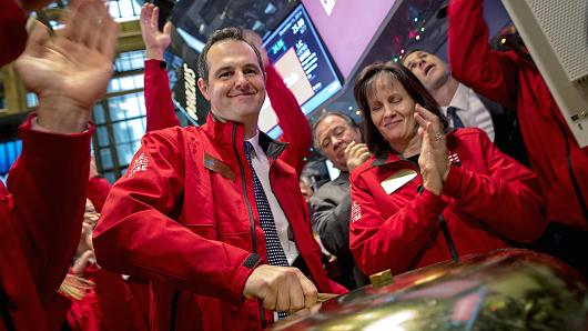 Lending Club founder and CEO Renaud Laplanche rings a ceremonial bell to begin trading during the company's IPO on the floor of the New York Stock Exchange, Dec. 11, 2014.