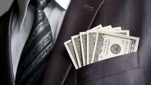 Money in suit pocket